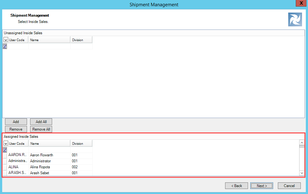 Shipment Management wizard, Inside Sales Selection page; shows the location of the Assigned Inside Sales pane.