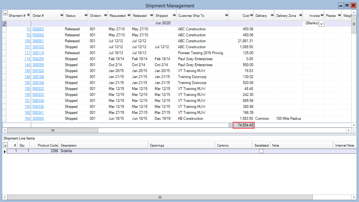 Shipment Management window; shows the location of the Total Cost field.