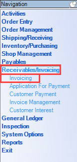 Enterprise Navigation menu; shows the location of Receivables/Invoicing and Invoicing.