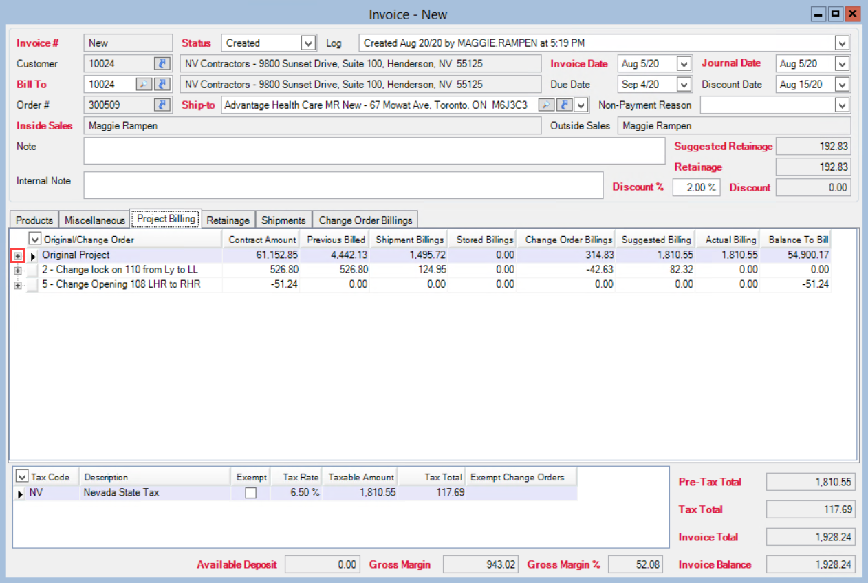 Invoicing window, Project Billing tab; shows the locatino of the Expand button.