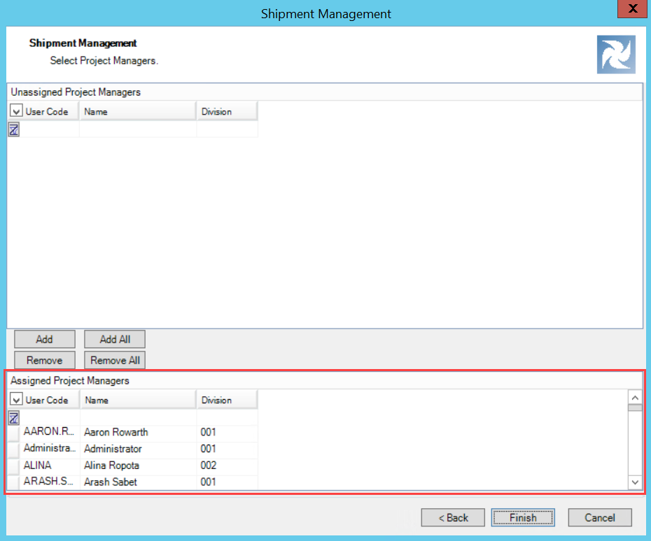 Shipment Management wizard, Project Manager Selection page; shows the location of the Assigned Project Managers pane.