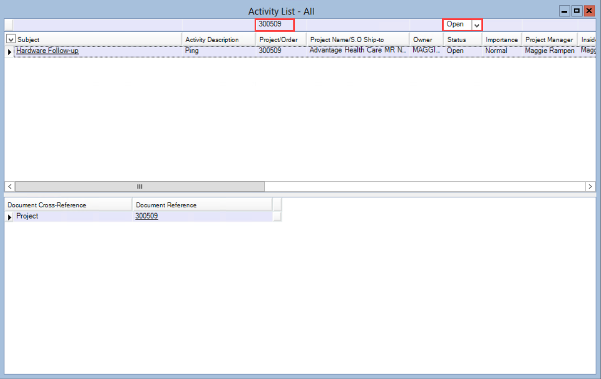 Activity List window; shows list filtered by Project/Order and Status.