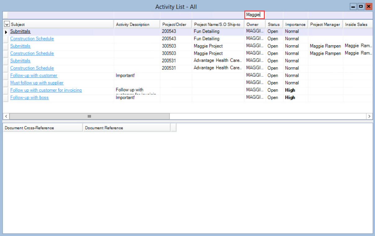 Activity List window; shows the a list of activities filtered by Owner.