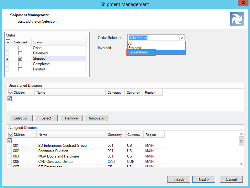 Shipment Management wizard, Status/Division Selection page; shows the Order Selection field drop-down list.