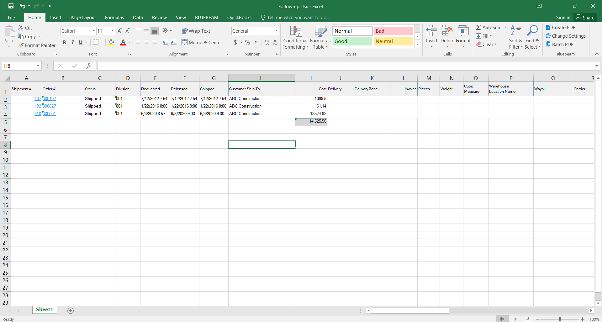 Excel window; shows an example export list.