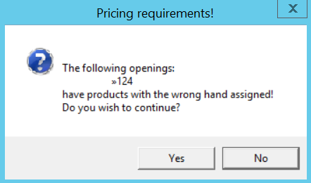 Pricing Requirements dialog box
