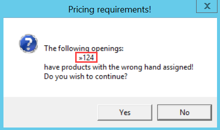 Pricing Requirements dialog box; shows the location of the list of affected openings.