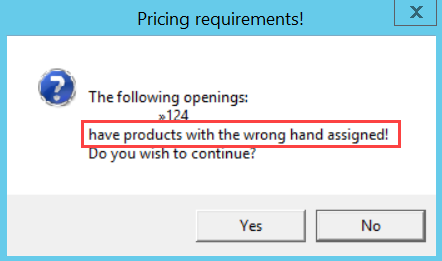 Pricing Requirements dialog box; shows the location of the issue.