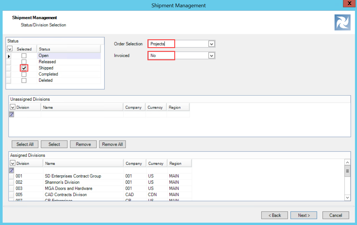 Shipment Management wizard, Status/Division Selection page; shows the selected criteria or Status, Order selection, and Invoiced fields.