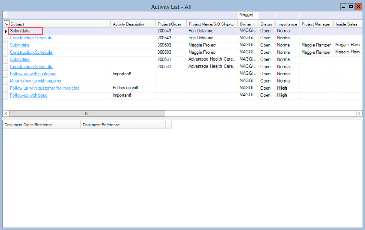 Activity List window; shows the location of the Subject field.