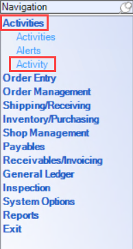 Enterprise Navigation menu; shows the location of Activities and Activity.