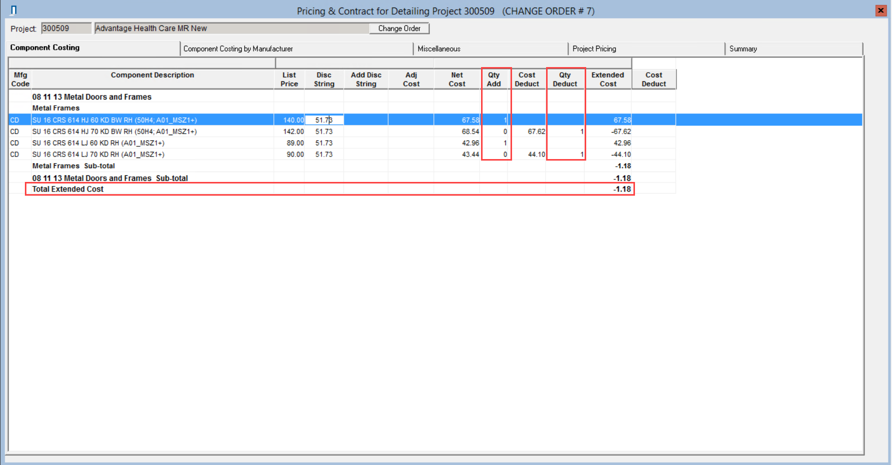 Pricing window; shows the Quantity Add column, Quantity Deduct column, and Total Extended Cost row.
