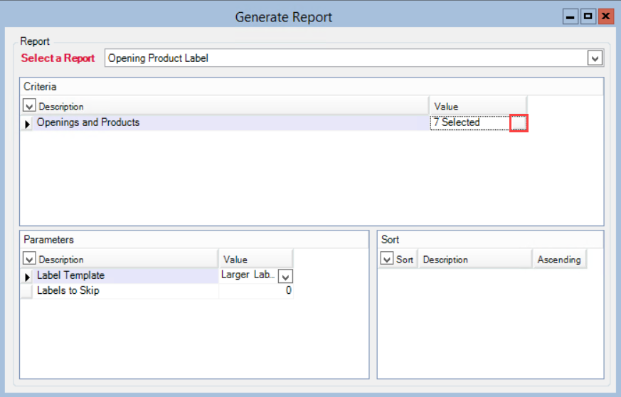 Generate Report window; shows the location of the Opening and Product Value button.