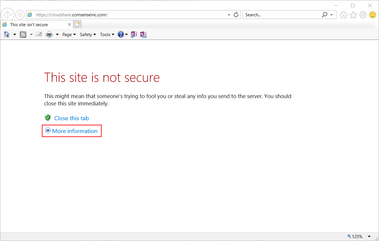 Internet Explorer web browser, 'This site is not secure' page; shows the location of the More information button.