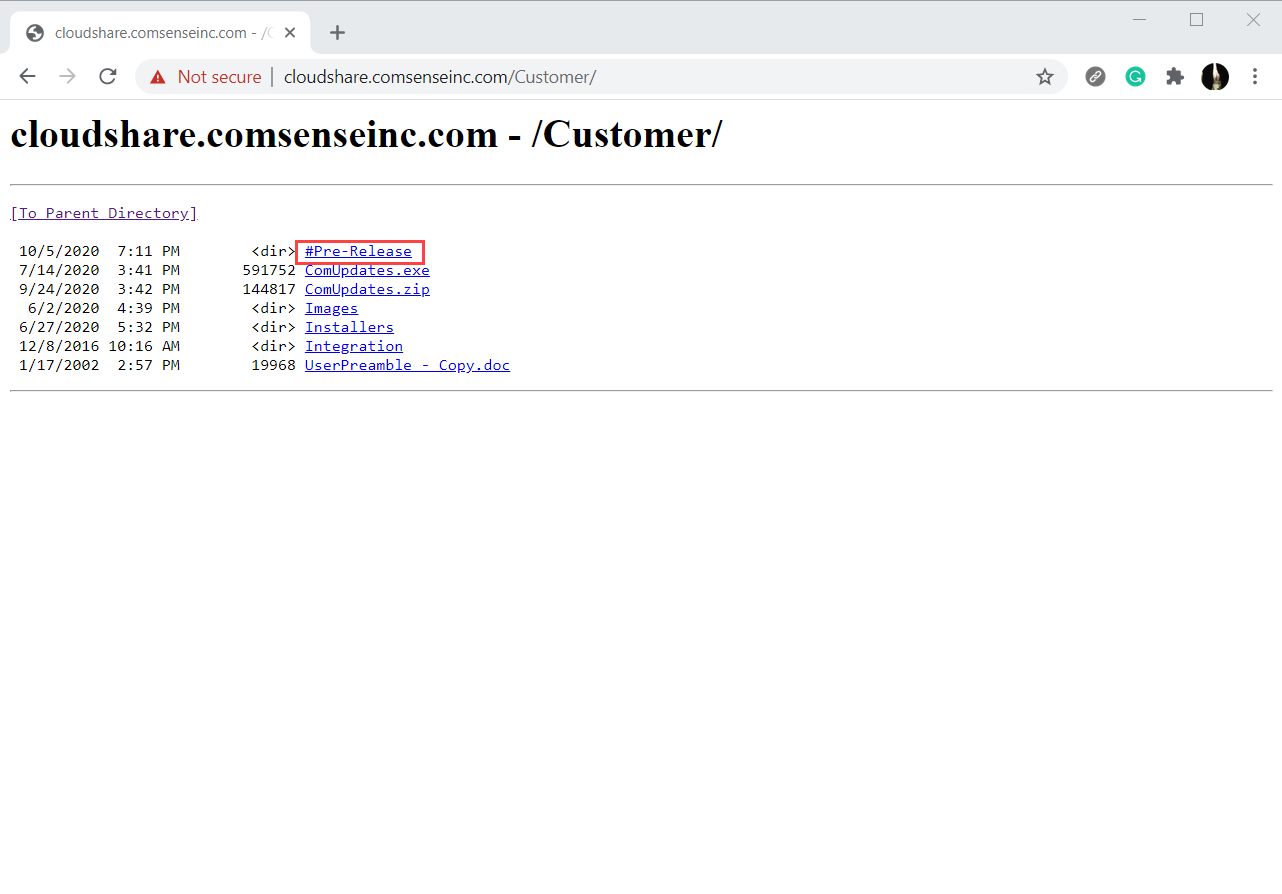 cloudshare.comsenseinc.com/Customer webpage; shows the location of #Pre-Release.