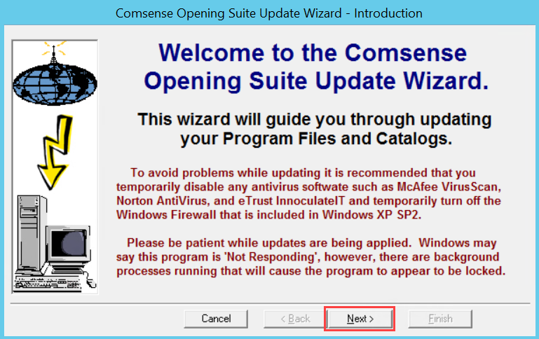 Comsense Opening Suite Update Wizard, Introduct page; shows the location of the Next button.