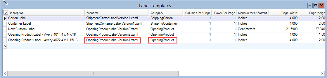 Label Template window; shows the File Name and Category field.