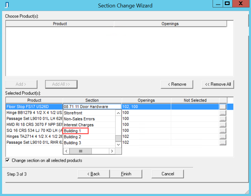 Section Change Wizard, Page 3; shows all products in the Selected Products pane and the Section field drop-down list.