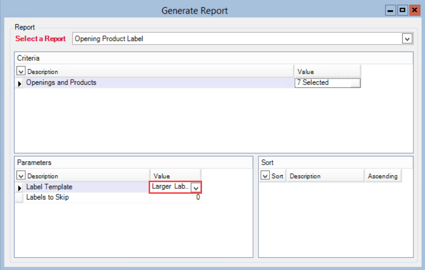 Generate Report window; shows the location of the Label Template Value field.