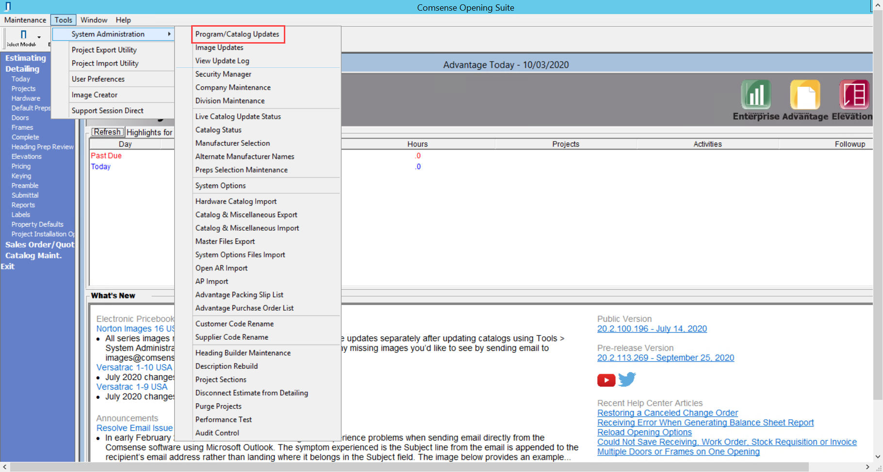 Comsense Advantage; shows the pathway to Program/Catalog Updates.