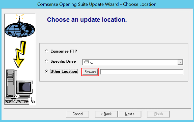 Comsense Opening Suite Update Wizard, Choose Location page; shows 'Other Location' and the location of the Browse button.