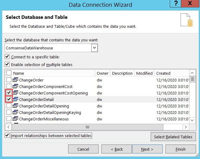 Data Connection Wizard, Select Database and Table page; shows two tables selected.