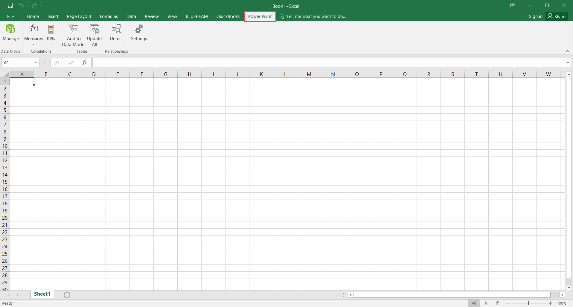 Excel Workbook; shows the location of the Power Pivot tab.