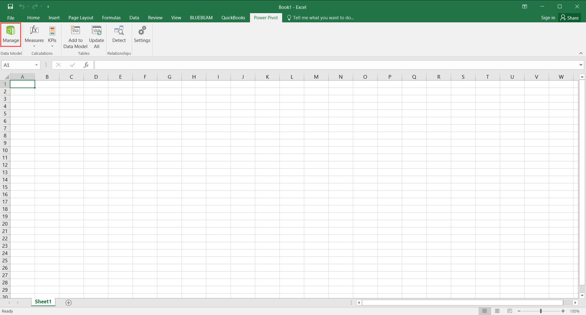 Excel Workbook, Power Pivot tab; shows the location of the Manage button.