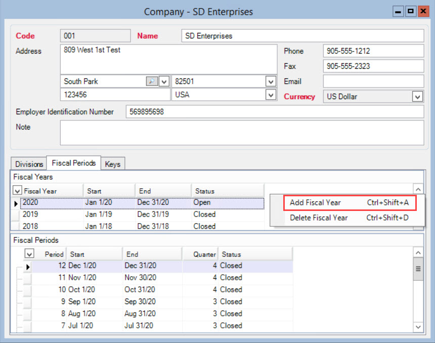 Company window; shows the Fiscal Years pane right-click menu.