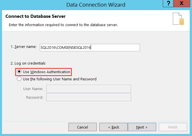 Data Connection Wizard, Connect to Database Server page; shows Use Windows Authentication selected.