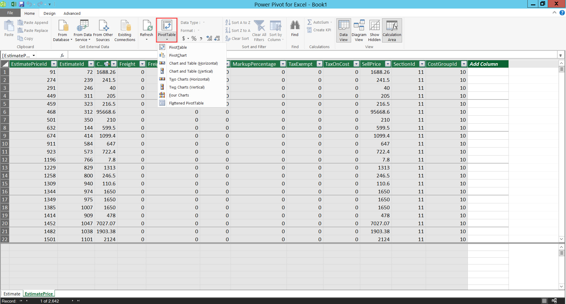 Power Pivot for Excel workbook; shows the PivotTable drop-down menu.