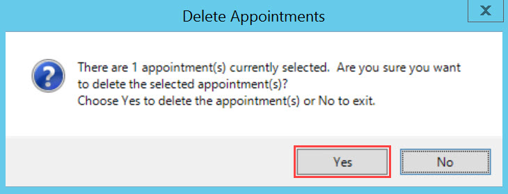 Delete Appointment dialog box; shows the location of the Yes button.