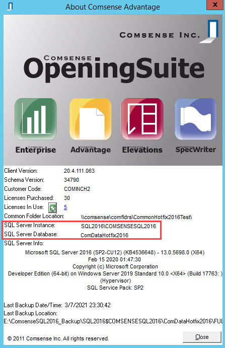 About Comsense Advantage window; shows the location of the SQL Server Instance and SQL Server Database.