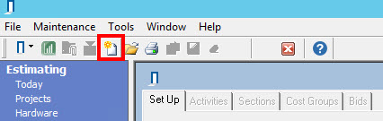 Projects window top toolbar; shows the location of the New Project icon.
