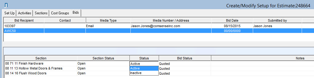 Bid tab; shows Section line items and Status field.